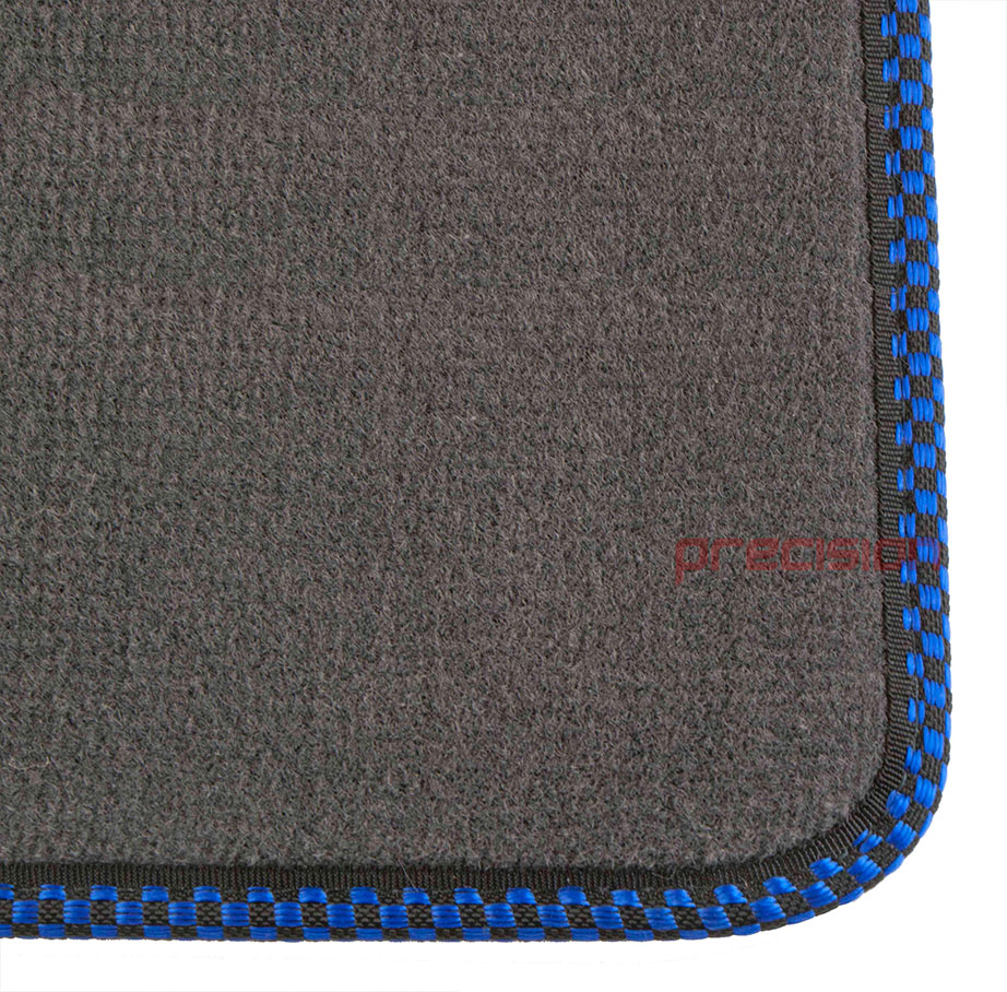 Grey Business Carpet Car Mats With Blue Check For Bmw Mini