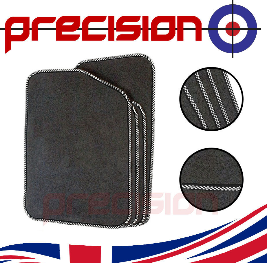 Grey-Business-Class-Car-Mats-with-Silver-Check-for-SAAB-93-2003-2014 thumbnail 1
