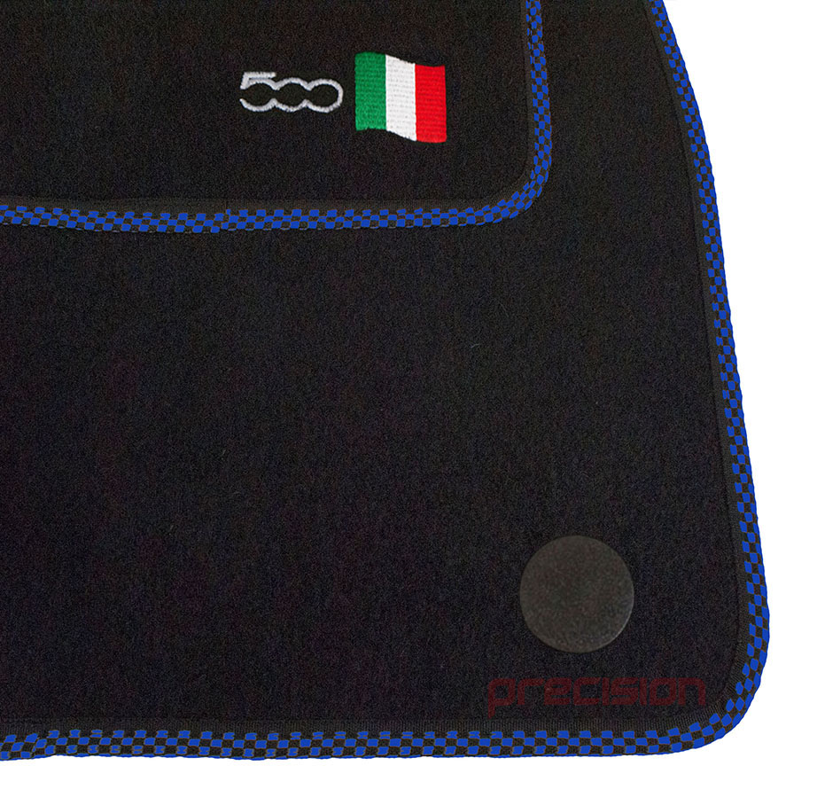 Black-Business-Class-Car-Mats-with-500-Logo-amp-Blue-Check-for-Fiat-500-2013-On thumbnail 3