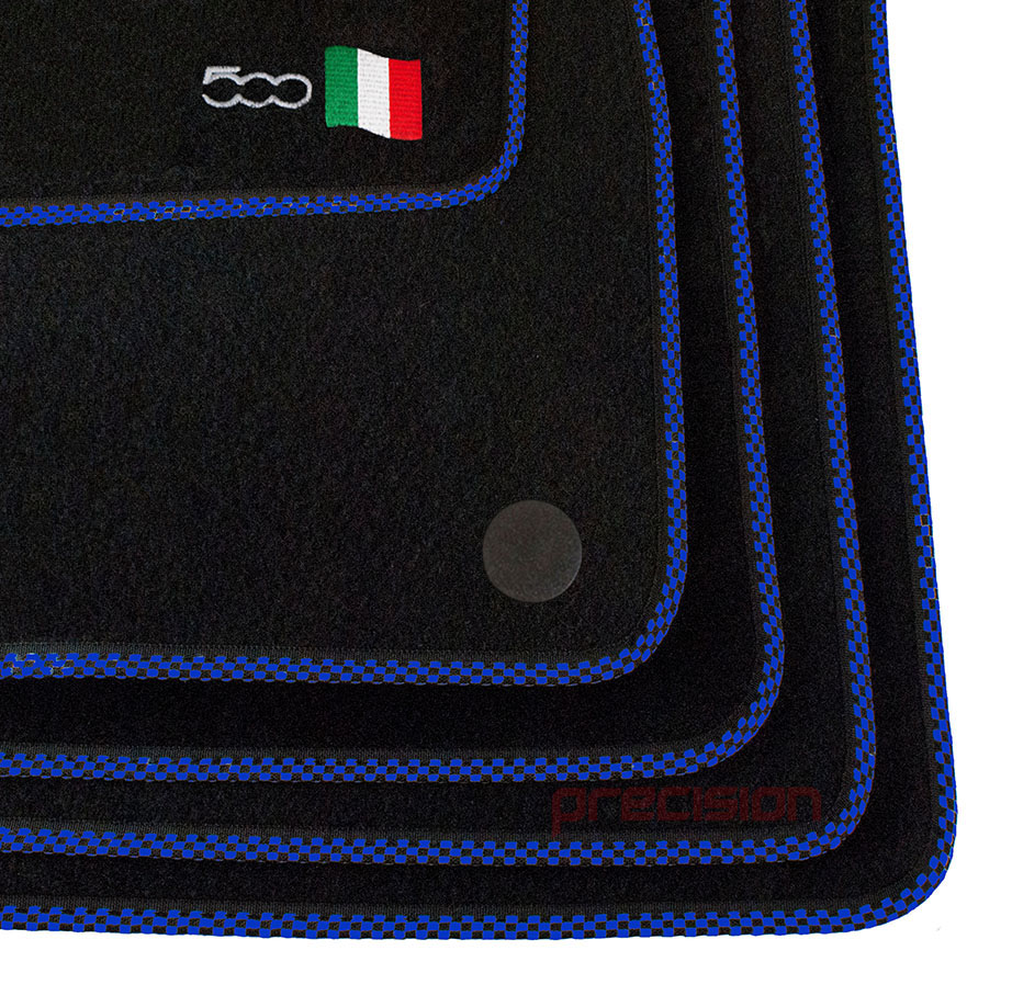 Black-Business-Class-Car-Mats-with-500-Logo-amp-Blue-Check-for-Fiat-500-2013-On thumbnail 4