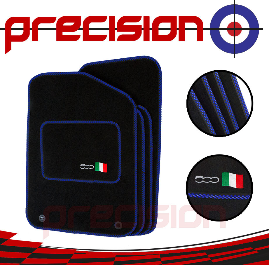 Black-Business-Class-Car-Mats-with-500-Logo-amp-Blue-Check-for-Fiat-500-2013-On