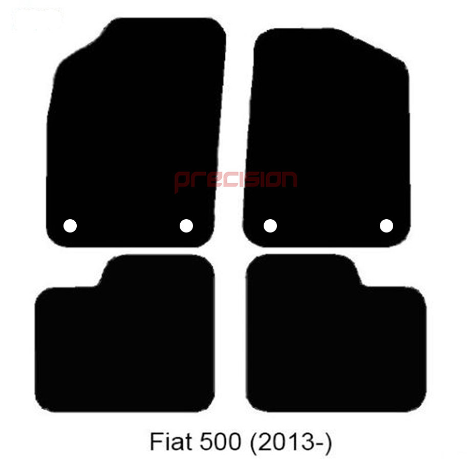 Classic-Black-Carpet-Car-Mats-with-500-Logo-amp-Red-Check-for-Fiat-500-2013-On thumbnail 2