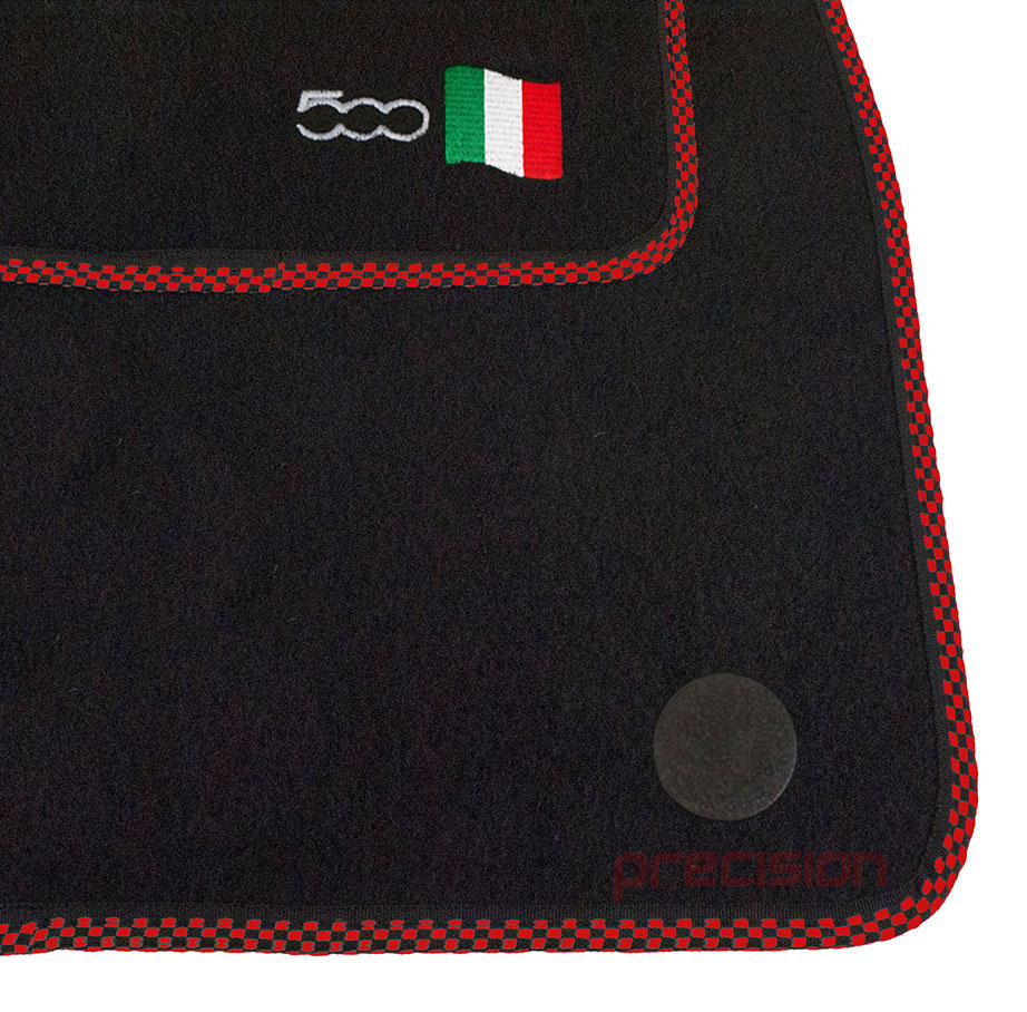 Classic-Black-Carpet-Car-Mats-with-500-Logo-amp-Red-Check-for-Fiat-500-2013-On thumbnail 3