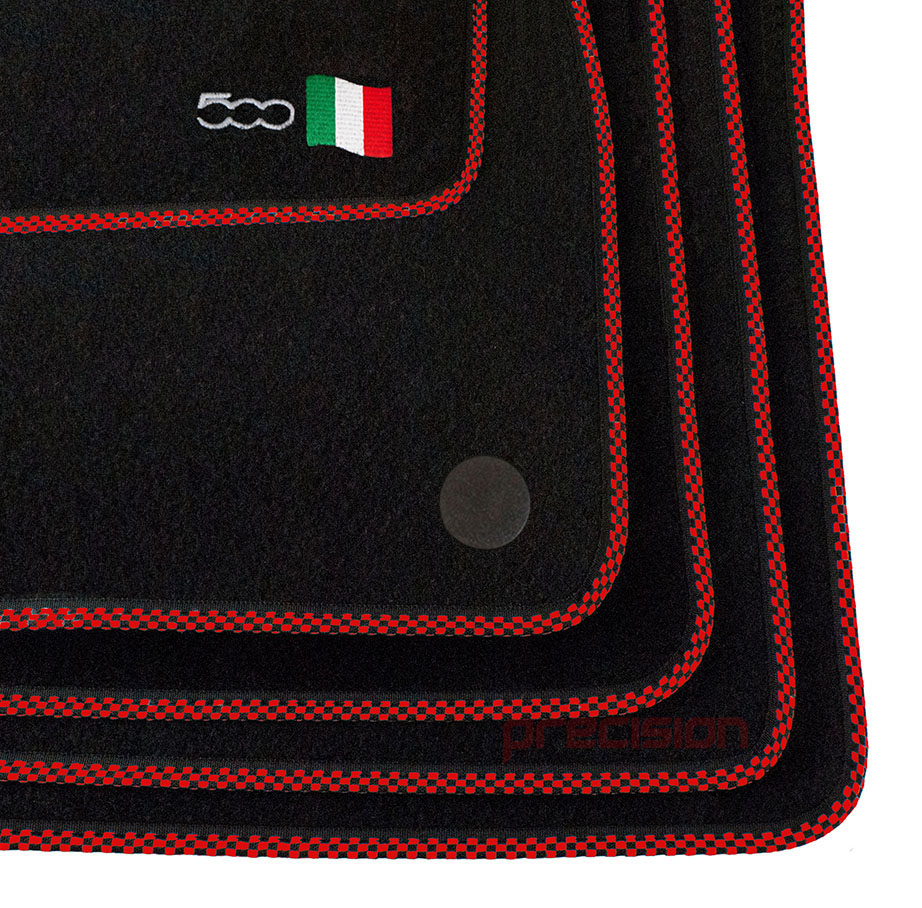 Classic-Black-Carpet-Car-Mats-with-500-Logo-amp-Red-Check-for-Fiat-500-2013-On thumbnail 4