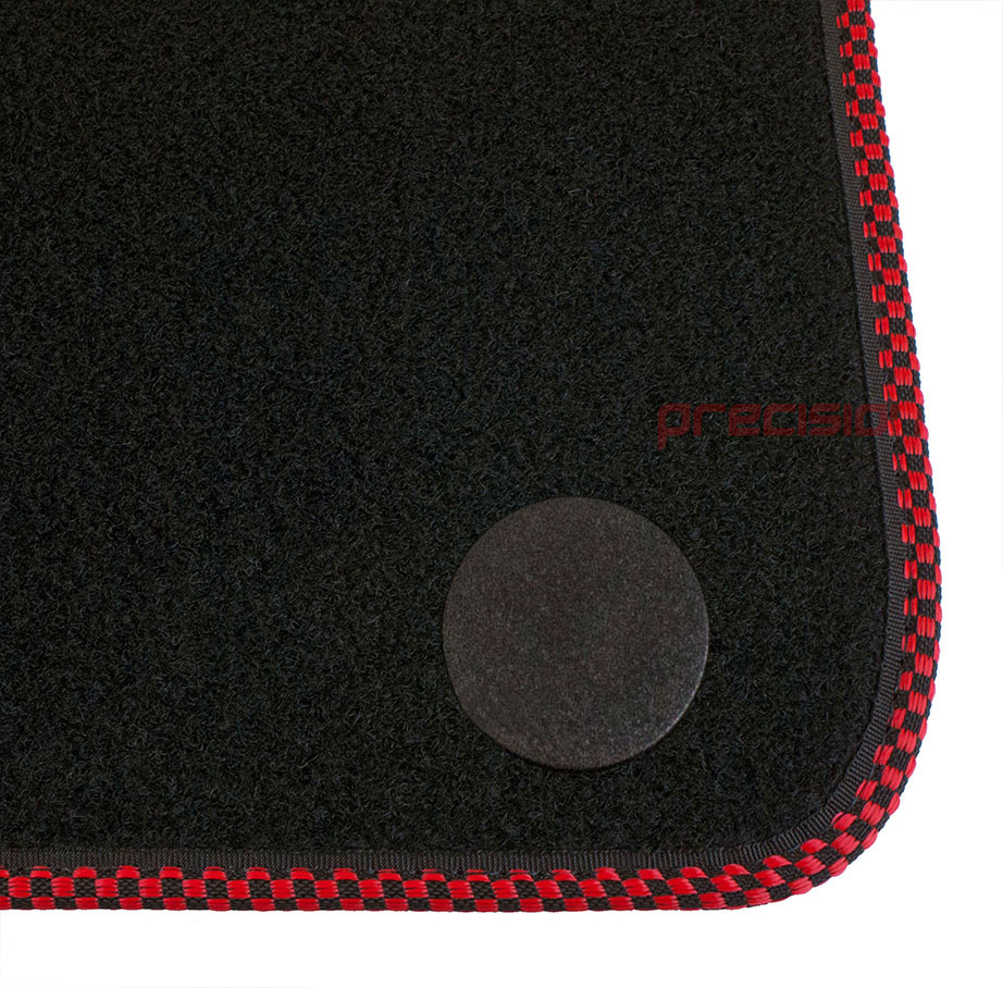 Classic-Black-Carpet-Car-Mats-with-500-Logo-amp-Red-Check-for-Fiat-500-2013-On thumbnail 5