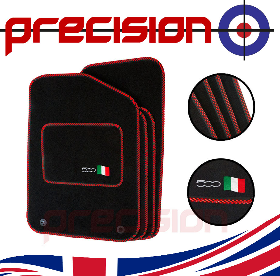 Classic-Black-Carpet-Car-Mats-with-500-Logo-amp-Red-Check-for-Fiat-500-2013-On