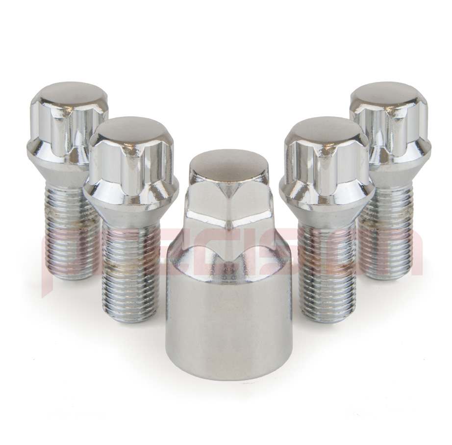 Chrome-Locking-Wheel-Nut-Bolts-and-Key-for-Rover-75 thumbnail 5