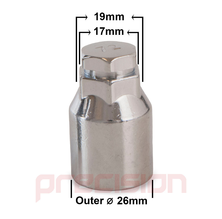 Chrome-Locking-Wheel-Nuts-and-Key-for-Peugeot-207-All-Model-Genuine-Alloys thumbnail 3
